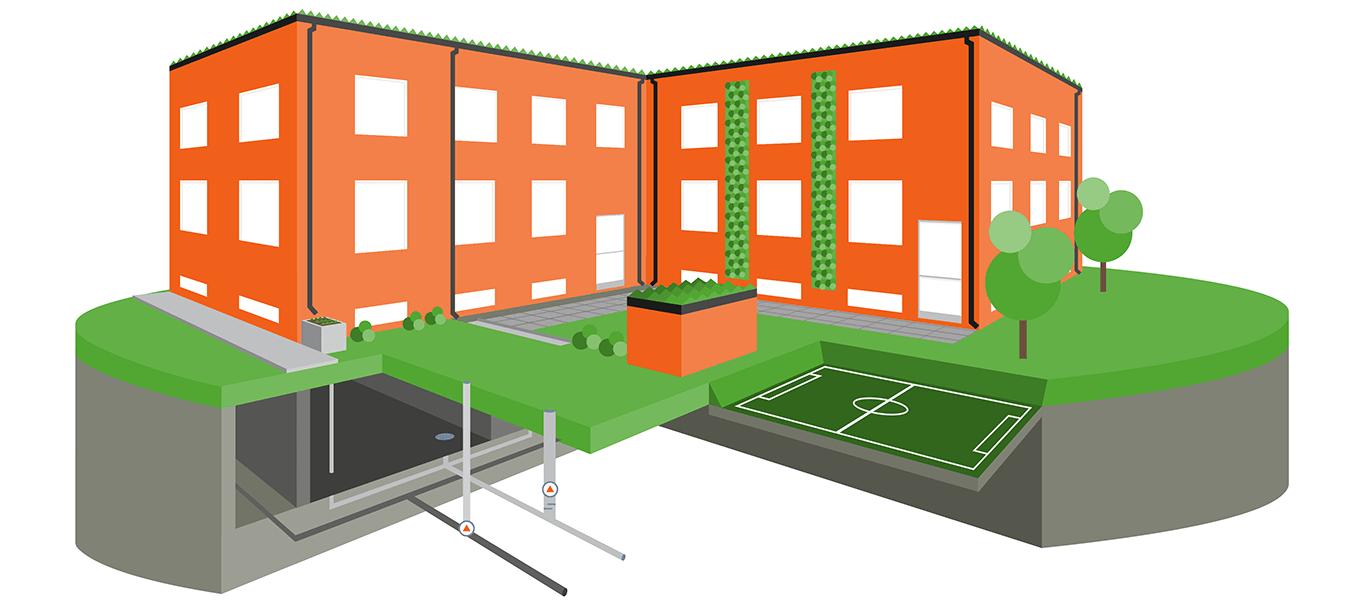 Illustration föreställande rött höghus, gräsmatta, fotbollsplan, avloppsrör, träd