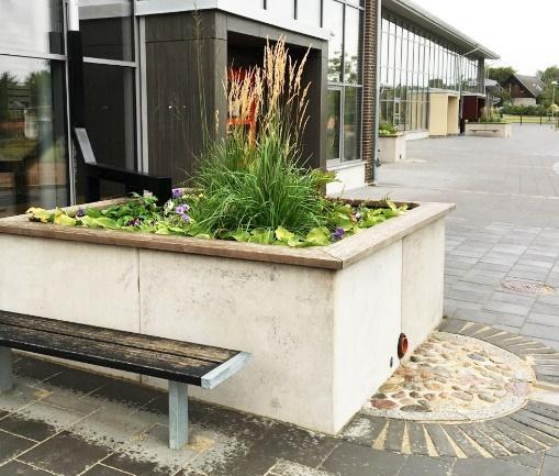 Regnbäddskruka med växtlighet på torg framför byggnad