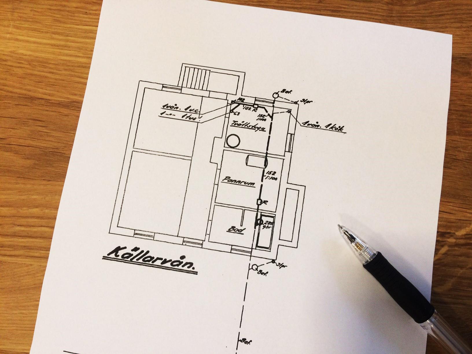 Pappersritning och penna