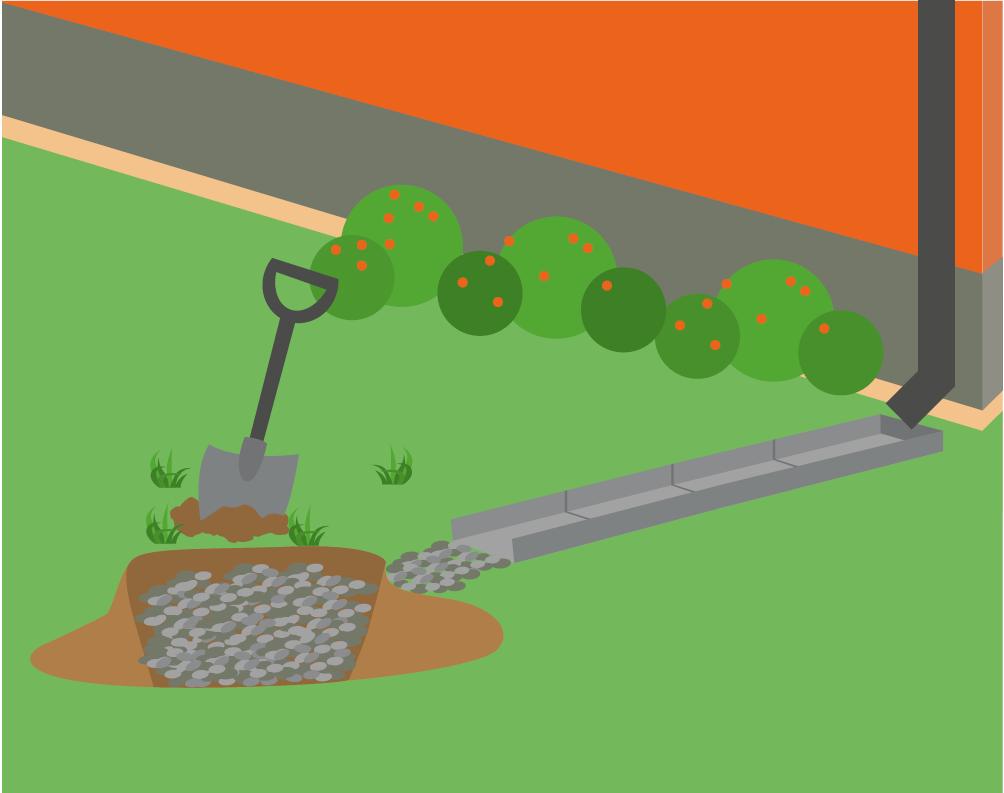 Illustration med spade bredvid grop i gräset fylld med sten. Ränndal leder från huset till gropen.