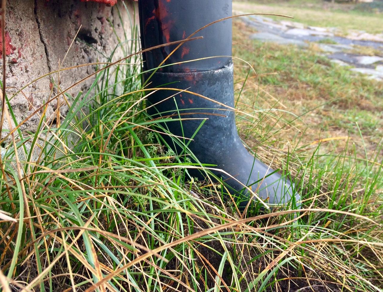 stuprör i högt gräs vid husknut