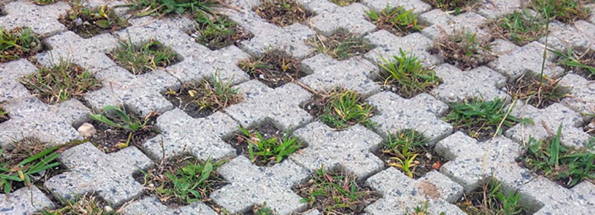 betongkryss på mark med lite gräs emellan